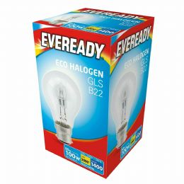10 x 80w (=100w) Watt Eveready Halogen GLS B22 BC Bayonet Cap Light Bulbs 240v